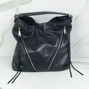 Rebecca Minkoff Black Fringe Hobo Moto Bag Purse